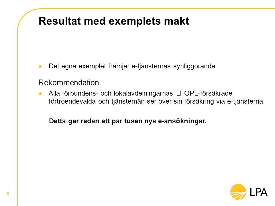 Resultat med exemplets makt  Det egna exemplet främjar e-tjänsternas synliggörande Rekommendation  Alla förbundens- och lokalavdelningarnas LFÖPL-fö