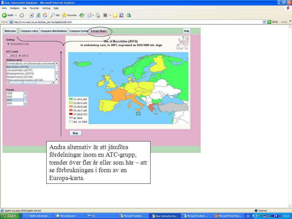 Andra alternativ är att jämföra fördelningar inom en ATC-grupp, trender över fler år eller som här – att se förbrukningen i form av en Europa-karta.