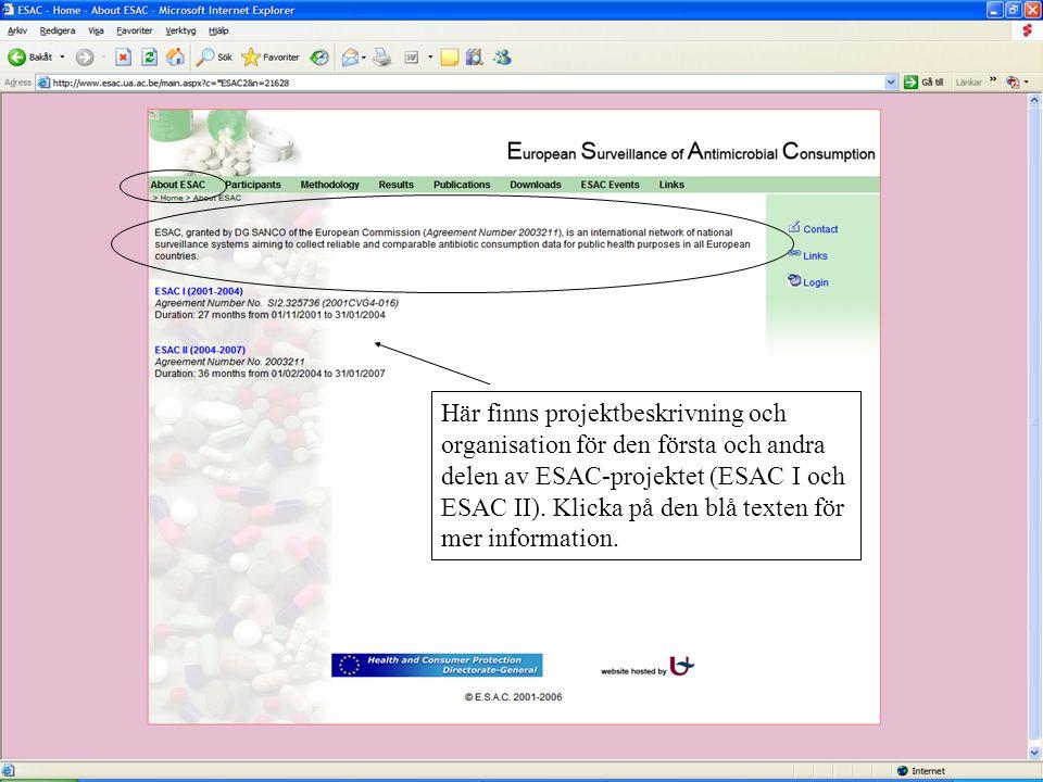 Här finns projektbeskrivning och organisation för den första och andra delen av ESAC-projektet (ESAC I och ESAC II). Klicka på den blå texten för mer