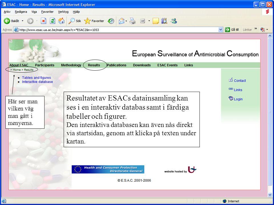 Resultatet av ESACs datainsamling kan ses i en interaktiv databas samt i färdiga tabeller och figurer. Den interaktiva databasen kan även nås direkt v