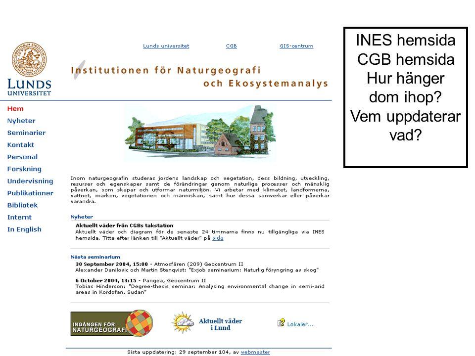 INES hemsida CGB hemsida Hur hänger dom ihop? Vem uppdaterar vad?