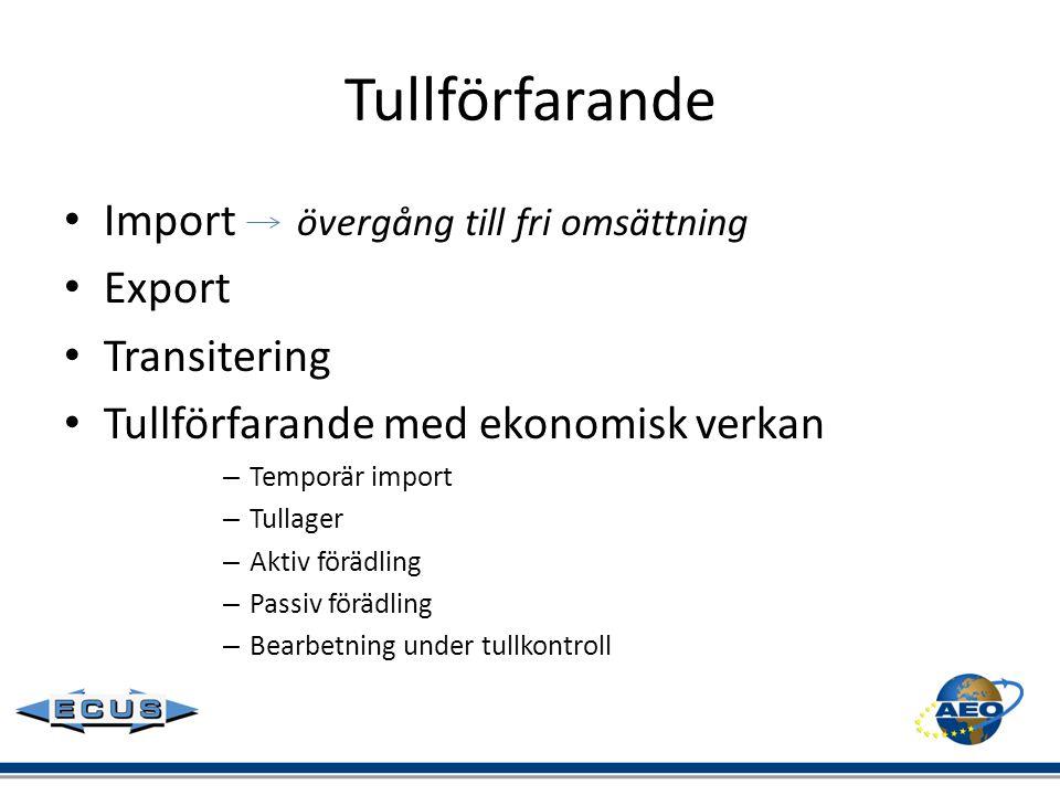 Tullförfarande • Import övergång till fri omsättning • Export • Transitering • Tullförfarande med ekonomisk verkan – Temporär import – Tullager – Akti