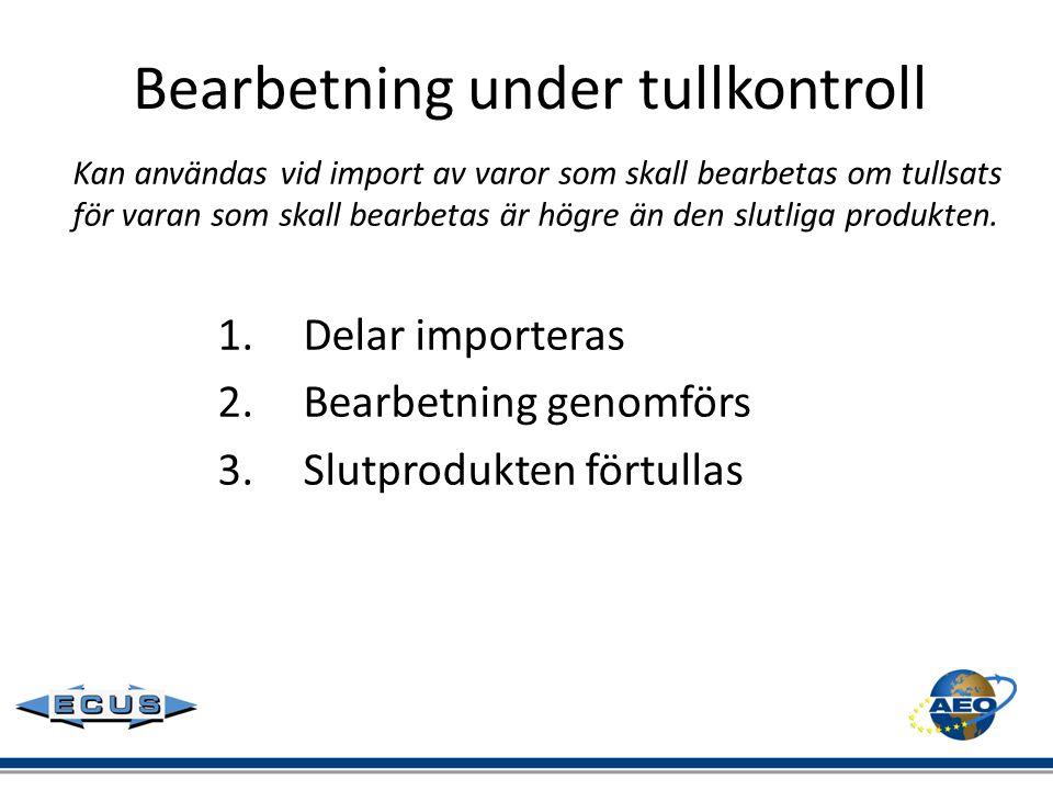 Bearbetning under tullkontroll Kan användas vid import av varor som skall bearbetas om tullsats för varan som skall bearbetas är högre än den slutliga