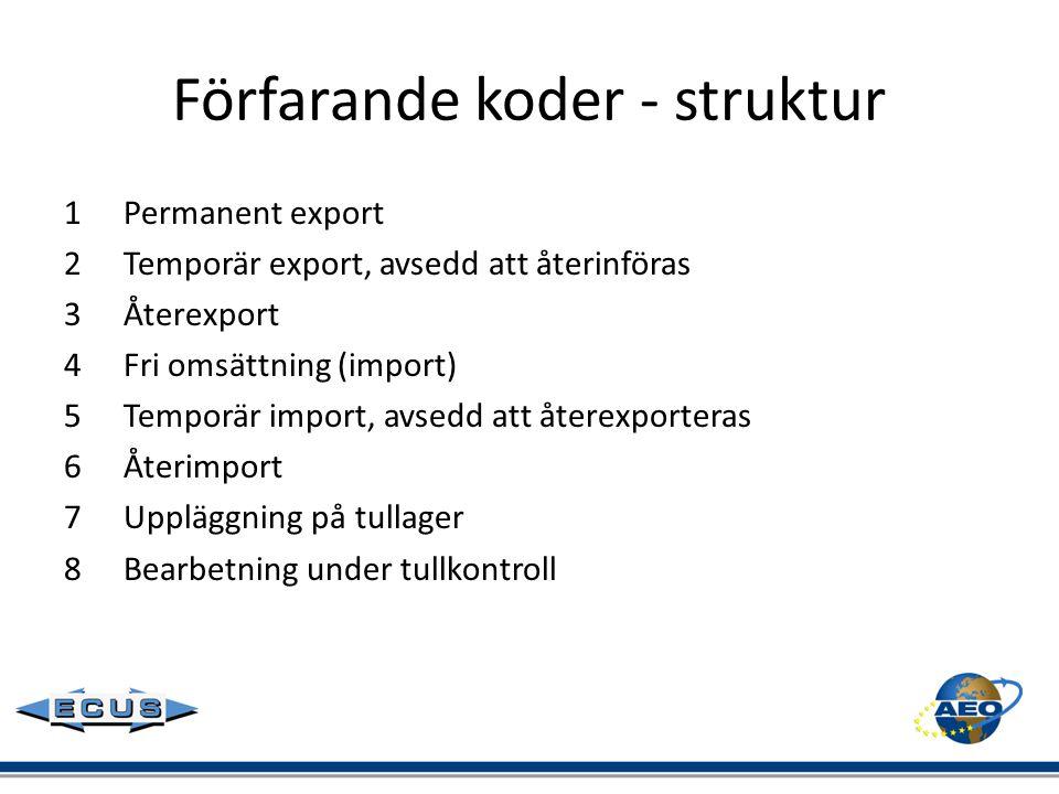 Förfarande koder - struktur 1Permanent export 2Temporär export, avsedd att återinföras 3Återexport 4Fri omsättning (import) 5Temporär import, avsedd a