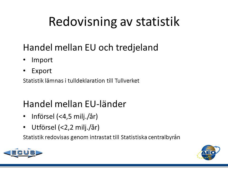 Redovisning av statistik Handel mellan EU och tredjeland • Import • Export Statistik lämnas i tulldeklaration till Tullverket Handel mellan EU-länder
