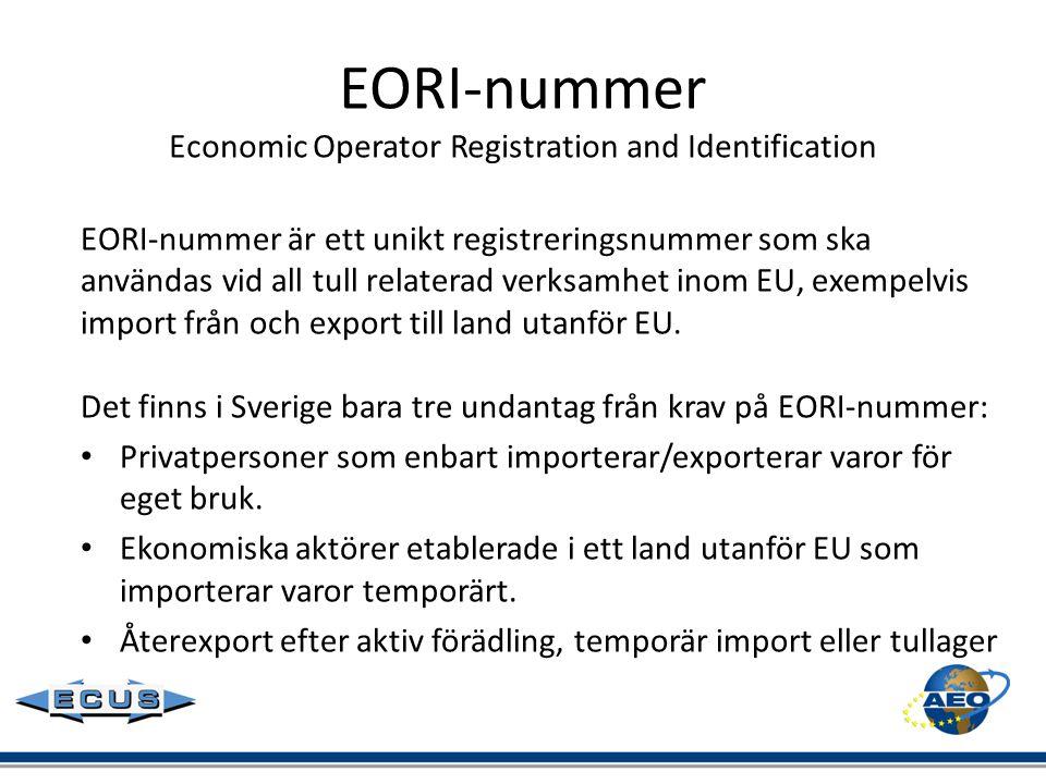 EORI-nummer Economic Operator Registration and Identification EORI-nummer är ett unikt registreringsnummer som ska användas vid all tull relaterad ver