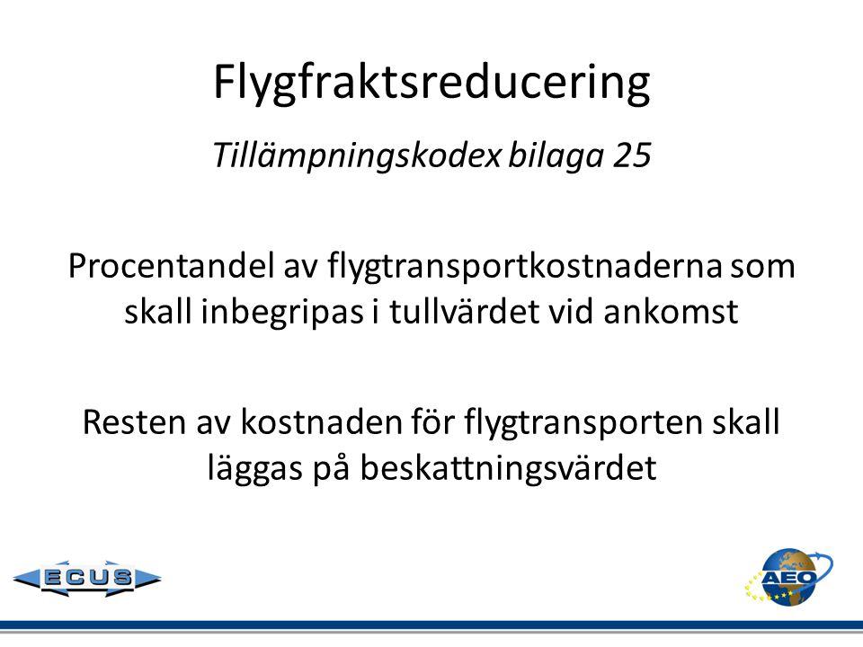 Flygfraktsreducering Tillämpningskodex bilaga 25 Procentandel av flygtransportkostnaderna som skall inbegripas i tullvärdet vid ankomst Resten av kost