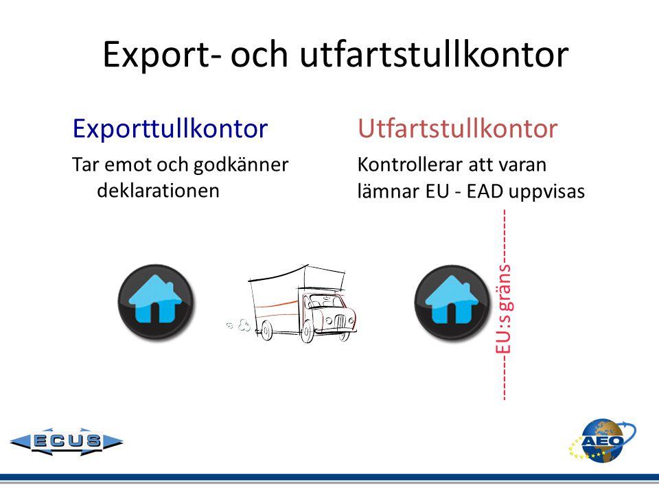 Export- och utfartstullkontor Exporttullkontor Tar emot och godkänner deklarationen Utfartstullkontor Kontrollerar att varan lämnar EU - EAD uppvisas