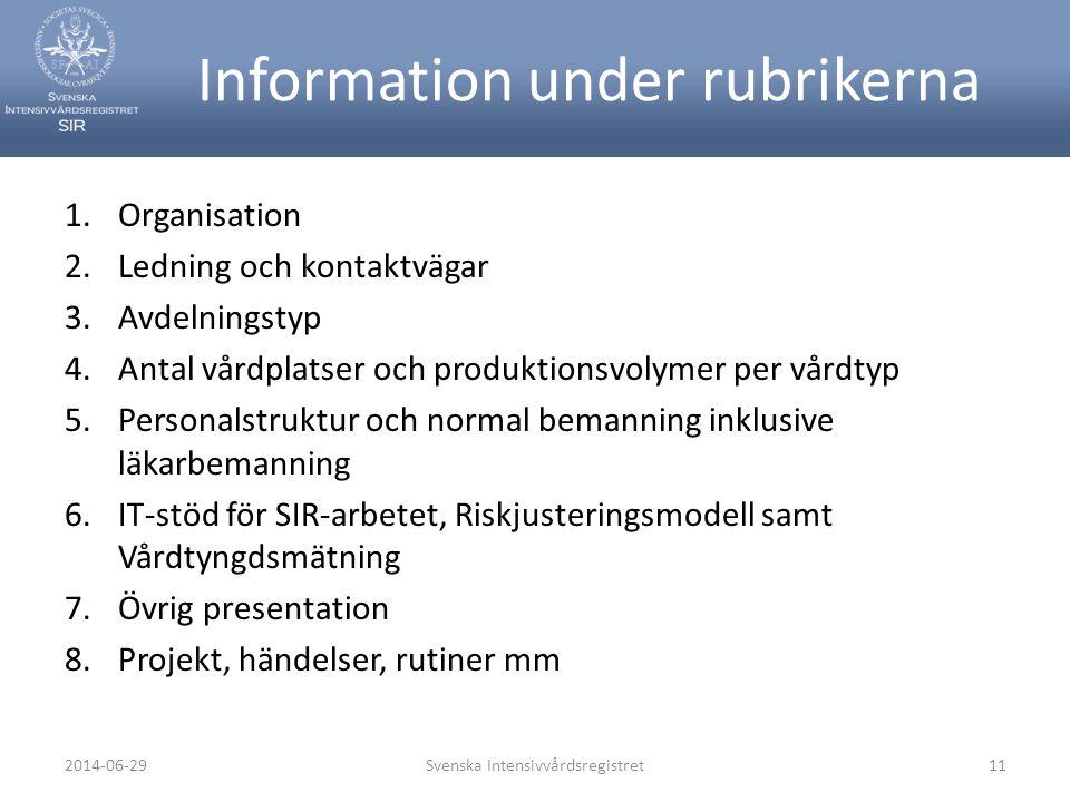 Information under rubrikerna 1.Organisation 2.Ledning och kontaktvägar 3.Avdelningstyp 4.Antal vårdplatser och produktionsvolymer per vårdtyp 5.Person