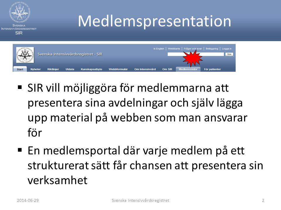  Varje avdelning kan presentera aktuella händelser, projekt och resultat  Vi hoppas kunna stimulera kunskapsspridning och nyhetsspridning inom intensivvården i Sverige  Presentationen ska ge möjlighet för medlemmarna att skapa nätverk och få kontakt med varandra Svenska Intensivvårdsregistret32014-06-29