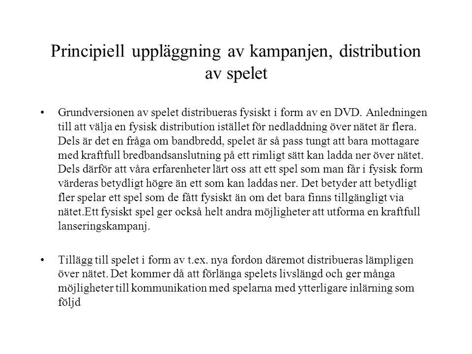 Principiell uppläggning av kampanjen, distribution av spelet •Grundversionen av spelet distribueras fysiskt i form av en DVD. Anledningen till att väl