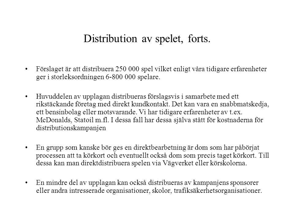 Distribution av spelet, forts. •Förslaget är att distribuera 250 000 spel vilket enligt våra tidigare erfarenheter ger i storleksordningen 6-800 000 s
