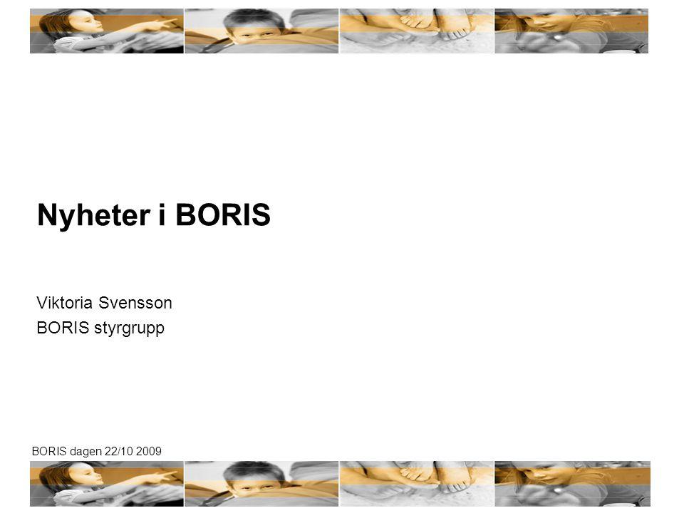 BORIS dagen 22/10 2009 Nyheter i BORIS Viktoria Svensson BORIS styrgrupp