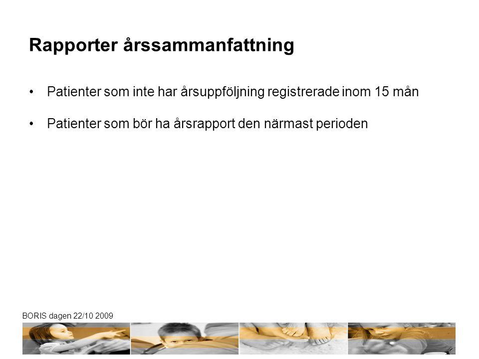 BORIS dagen 22/10 2009 Rapporter årssammanfattning •Patienter som inte har årsuppföljning registrerade inom 15 mån •Patienter som bör ha årsrapport den närmast perioden