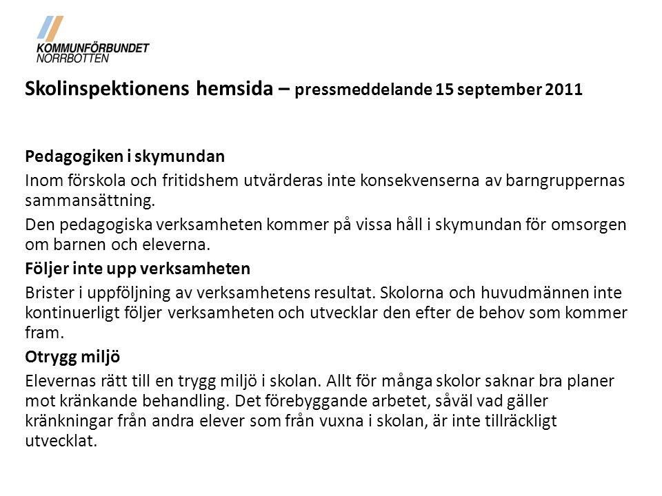 Skolinspektionens hemsida – pressmeddelande 15 september 2011 Pedagogiken i skymundan Inom förskola och fritidshem utvärderas inte konsekvenserna av barngruppernas sammansättning.