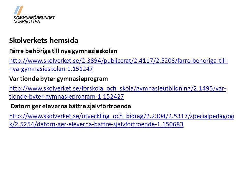 Skolverkets hemsida Färre behöriga till nya gymnasieskolan http://www.skolverket.se/2.3894/publicerat/2.4117/2.5206/farre-behoriga-till- nya-gymnasieskolan-1.151247 Var tionde byter gymnasieprogram http://www.skolverket.se/forskola_och_skola/gymnasieutbildning/2.1495/var- tionde-byter-gymnasieprogram-1.152427 Datorn ger eleverna bättre självförtroende http://www.skolverket.se/utveckling_och_bidrag/2.2304/2.5317/specialpedagogi k/2.5254/datorn-ger-eleverna-battre-sjalvfortroende-1.150683
