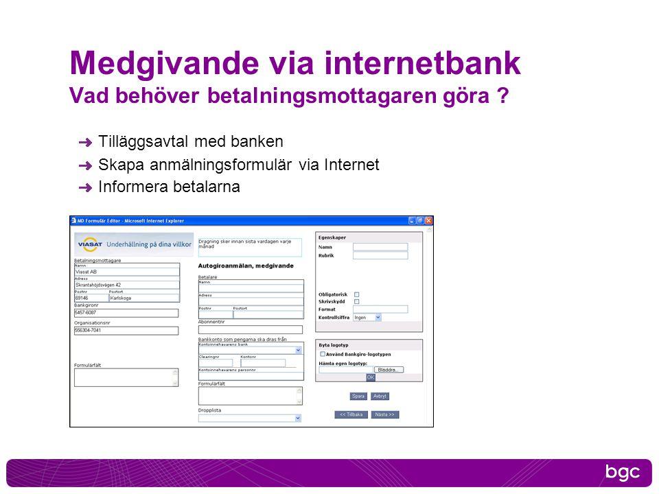 Medgivande via internetbank Vad behöver betalningsmottagaren göra ? Tilläggsavtal med banken Skapa anmälningsformulär via Internet Informera betalarna