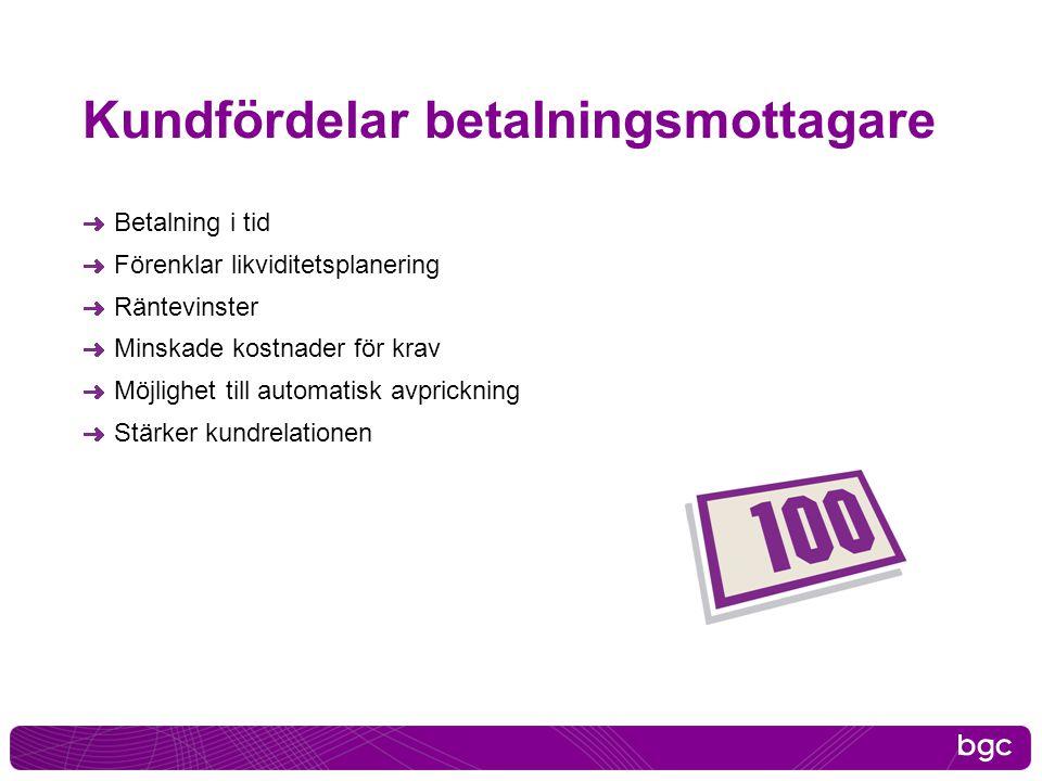 Kundfördelar betalningsmottagare Betalning i tid Förenklar likviditetsplanering Räntevinster Minskade kostnader för krav Möjlighet till automatisk avp