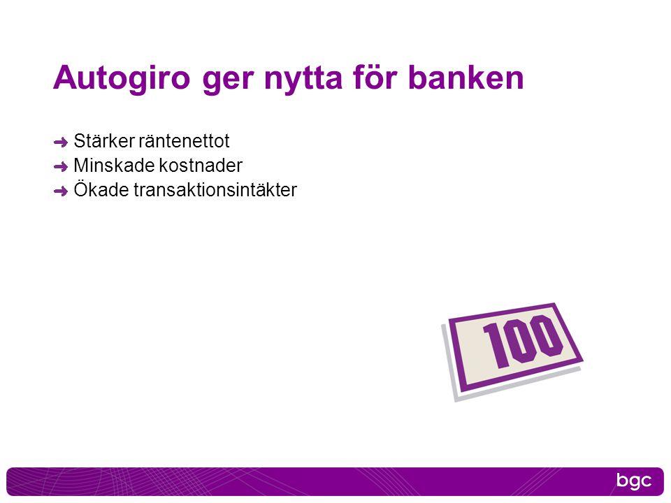 Autogiro ger nytta för banken Stärker räntenettot Minskade kostnader Ökade transaktionsintäkter