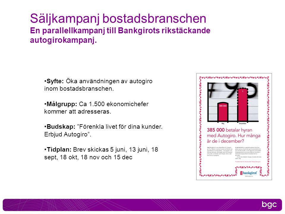 Säljkampanj bostadsbranschen En parallellkampanj till Bankgirots rikstäckande autogirokampanj. •Syfte: Öka användningen av autogiro inom bostadsbransc