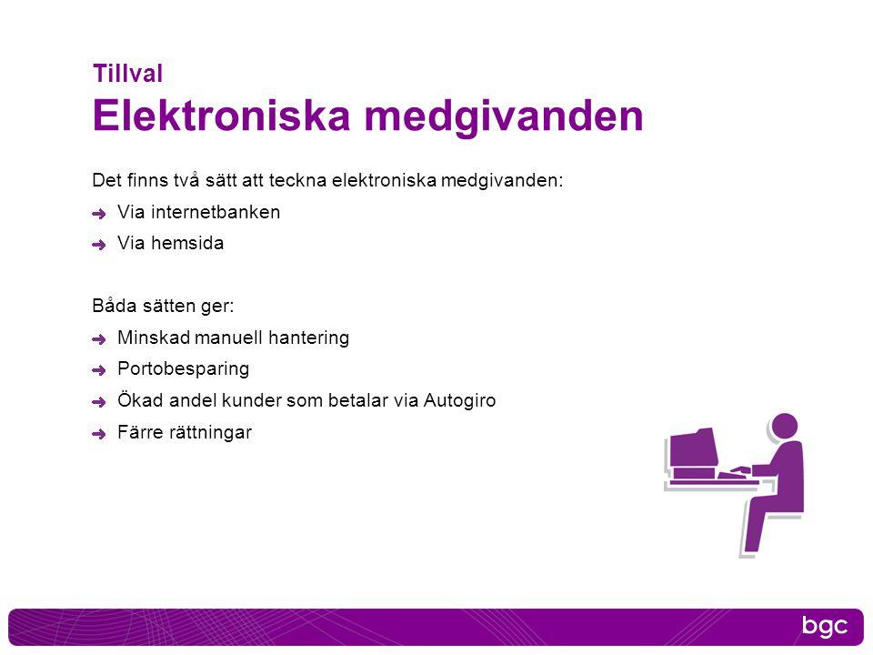 Tillval Elektroniska medgivanden Det finns två sätt att teckna elektroniska medgivanden: Via internetbanken Via hemsida Båda sätten ger: Minskad manue