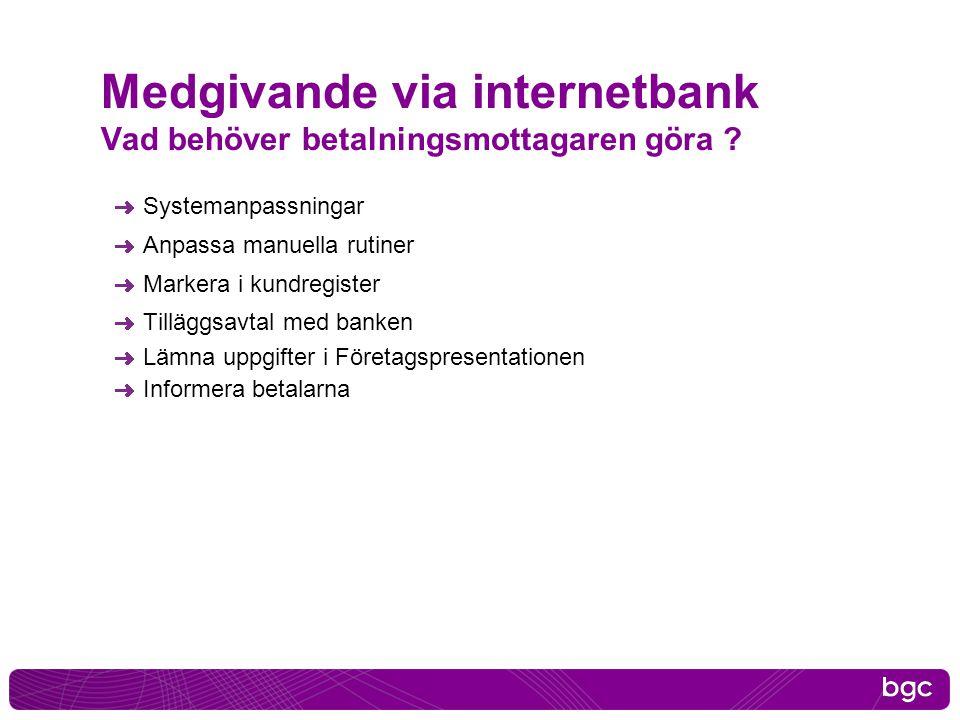 Medgivande via internetbank Vad behöver betalningsmottagaren göra ? Systemanpassningar Anpassa manuella rutiner Markera i kundregister Tilläggsavtal m