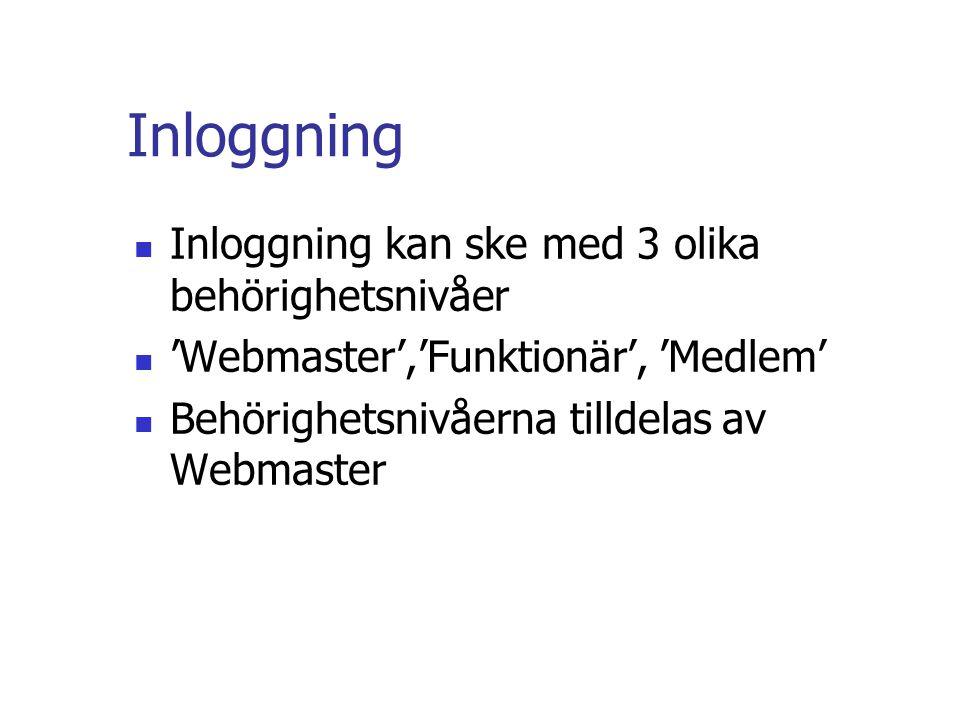 Inloggning  Inloggning kan ske med 3 olika behörighetsnivåer  'Webmaster','Funktionär', 'Medlem'  Behörighetsnivåerna tilldelas av Webmaster