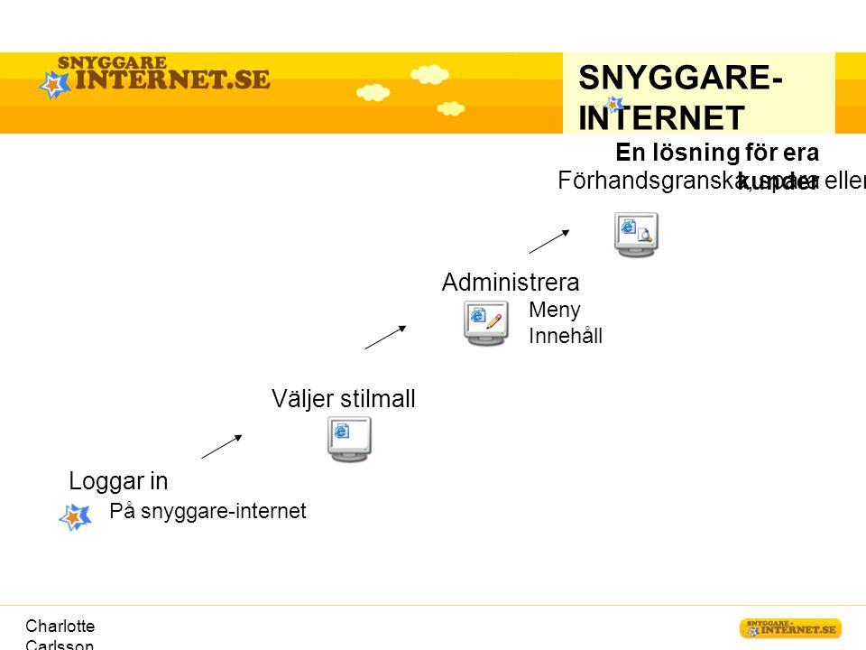 Charlotte Carlsson Förhandsgranska, spara eller publicera SNYGGARE- INTERNET En lösning för era kunder Loggar in På snyggare-internet Väljer stilmall
