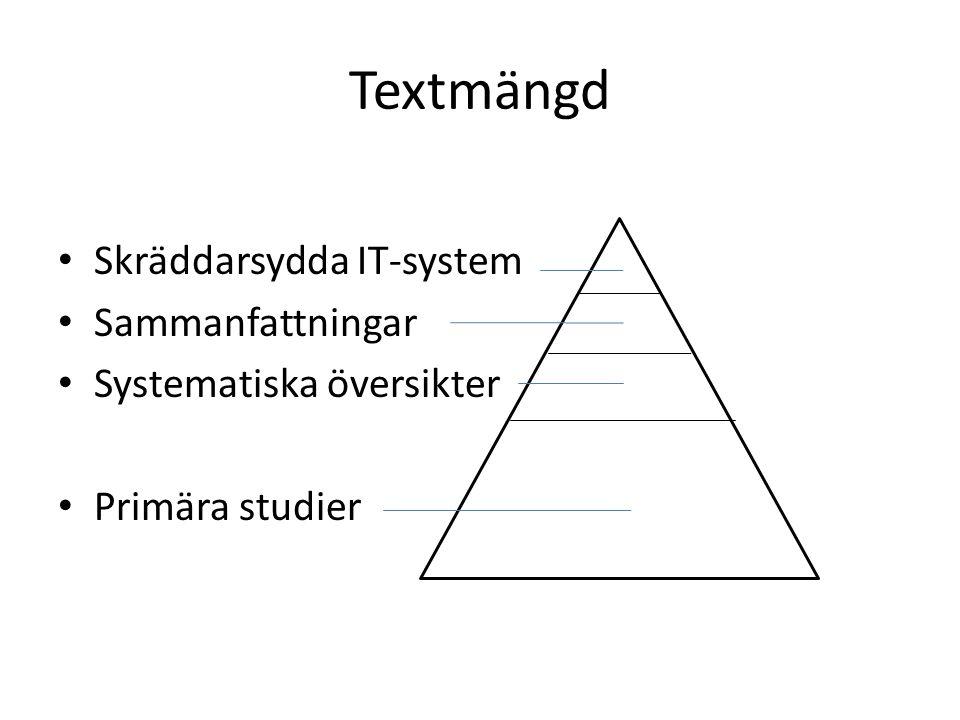 Textmängd • Skräddarsydda IT-system • Sammanfattningar • Systematiska översikter • Primära studier