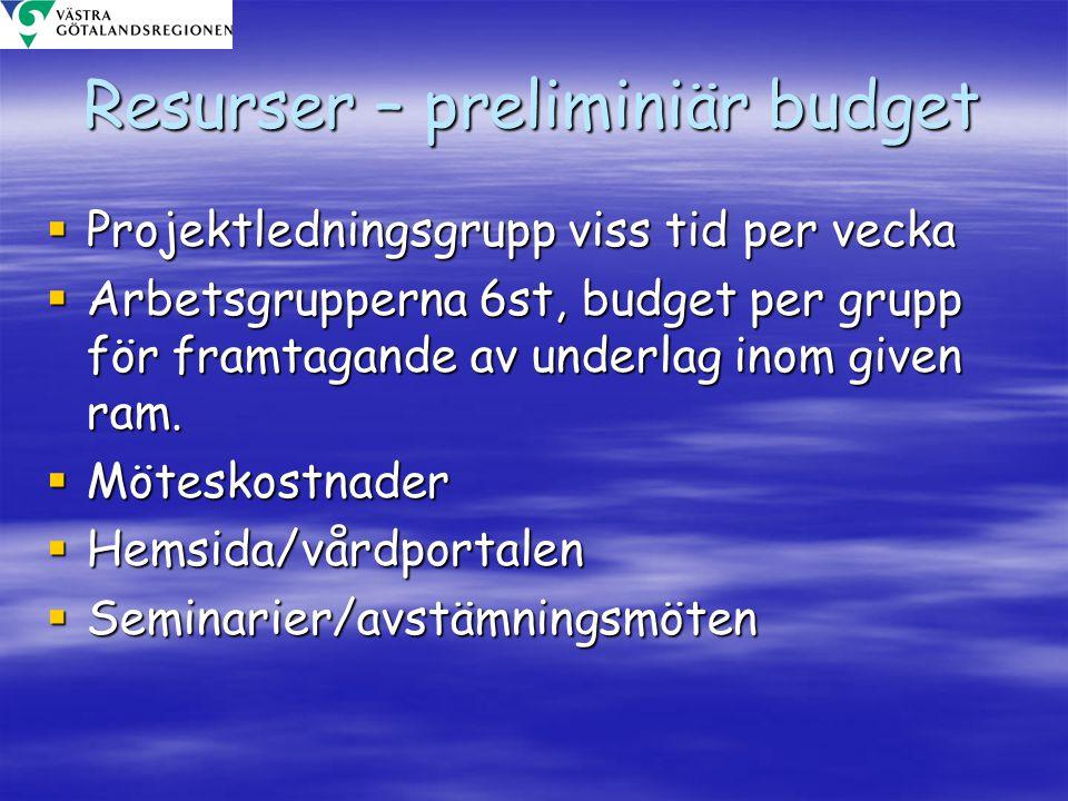 Resurser – preliminiär budget  Projektledningsgrupp viss tid per vecka  Arbetsgrupperna 6st, budget per grupp för framtagande av underlag inom given