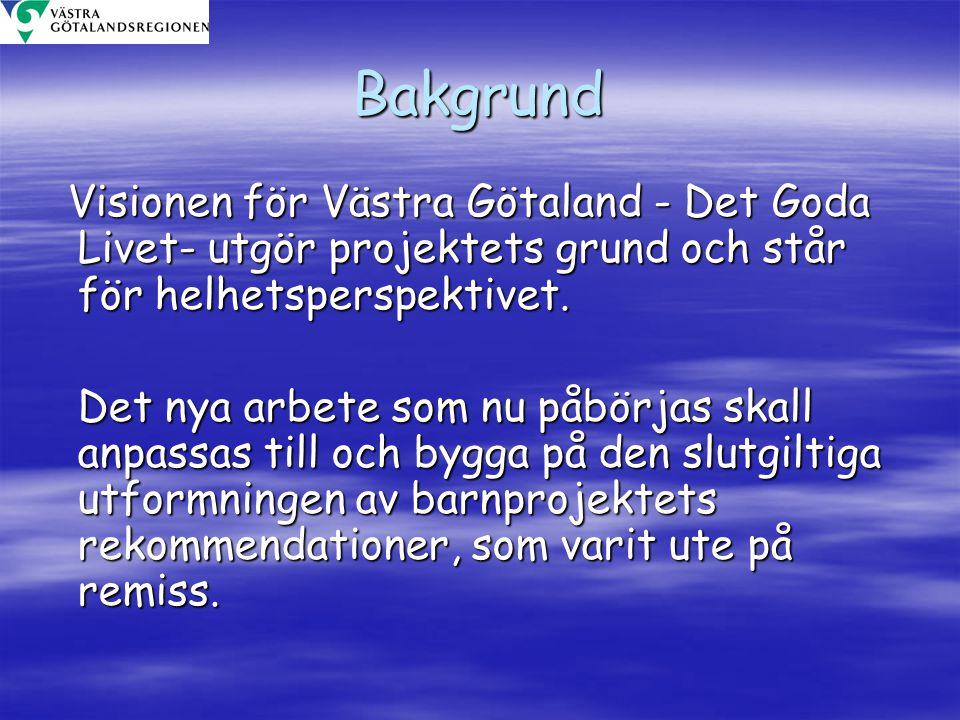 Bakgrund Visionen för Västra Götaland - Det Goda Livet- utgör projektets grund och står för helhetsperspektivet. Visionen för Västra Götaland - Det Go