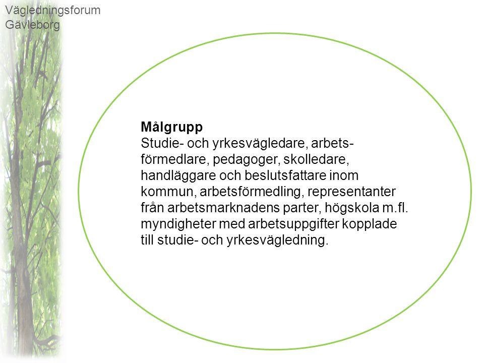 Vägledningsforum Gävleborg Syfte Vägledningsforum Gävleborg arrangerar och samordnar fortbildningsinsatser, erbjuder kvalificerad kompetensutveckling och skapar möjlighet för erfarenhetsutbyte och dialog mellan studie- och yrkesvägledare, arbetsförmedlare, pedagoger, representanter för näringsliv och branscher, m.fl.