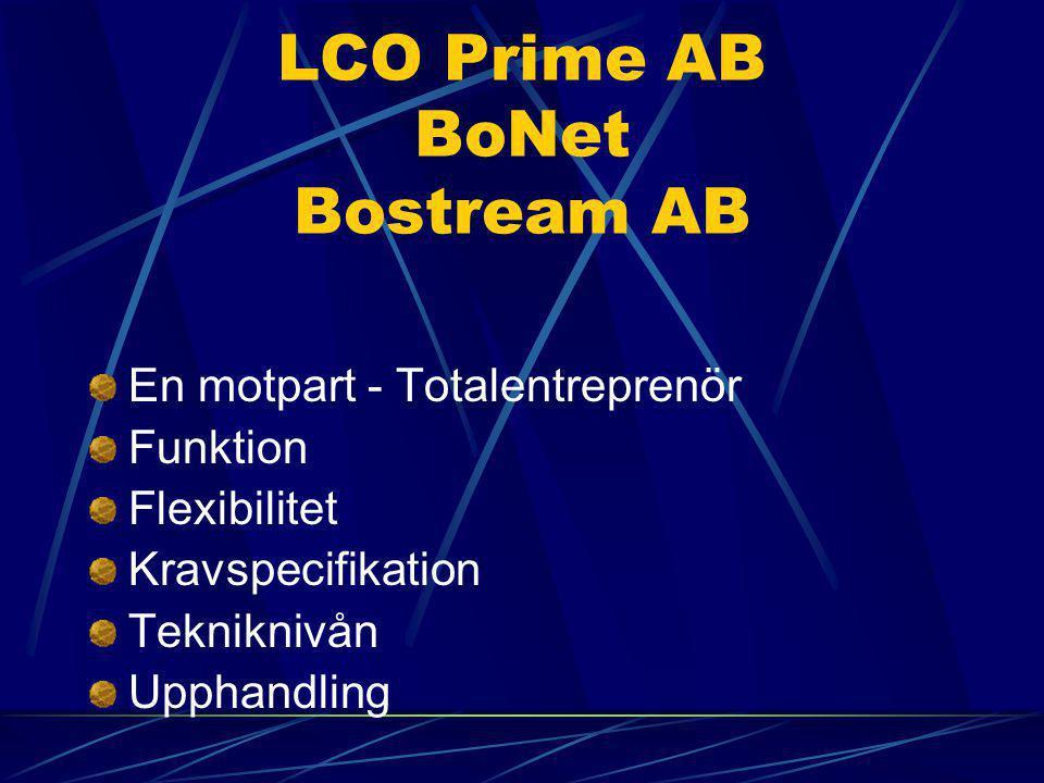 LCO Prime AB BoNet Bostream AB En motpart - Totalentreprenör Funktion Flexibilitet Kravspecifikation Tekniknivån Upphandling