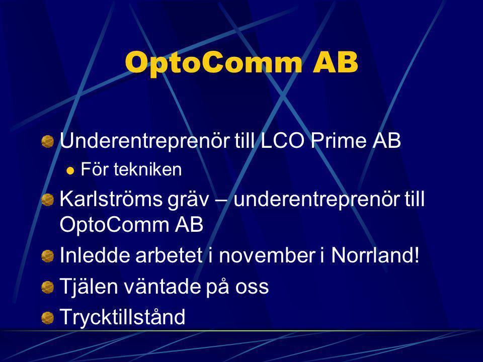 OptoComm AB Underentreprenör till LCO Prime AB  För tekniken Karlströms gräv – underentreprenör till OptoComm AB Inledde arbetet i november i Norrland.