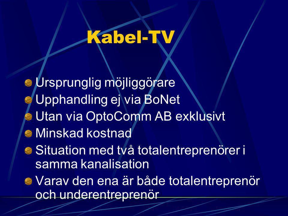 Kabel-TV Ursprunglig möjliggörare Upphandling ej via BoNet Utan via OptoComm AB exklusivt Minskad kostnad Situation med två totalentreprenörer i samma kanalisation Varav den ena är både totalentreprenör och underentreprenör