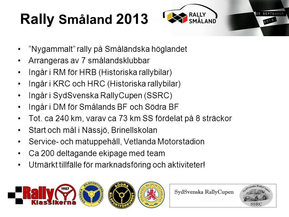 • Nygammalt rally på Småländska höglandet •Arrangeras av 7 smålandsklubbar •Ingår i RM för HRB (Historiska rallybilar) •Ingår i KRC och HRC (Historiska rallybilar) •Ingår i SydSvenska RallyCupen (SSRC) •Ingår i DM för Smålands BF och Södra BF •Tot.