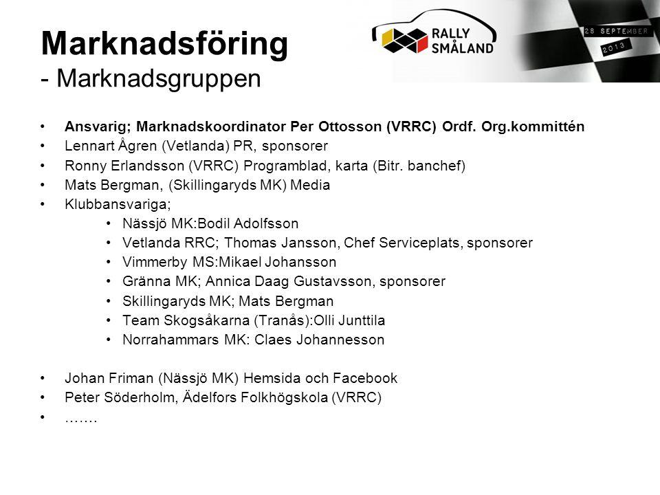 •Ansvarig; Marknadskoordinator Per Ottosson (VRRC) Ordf.