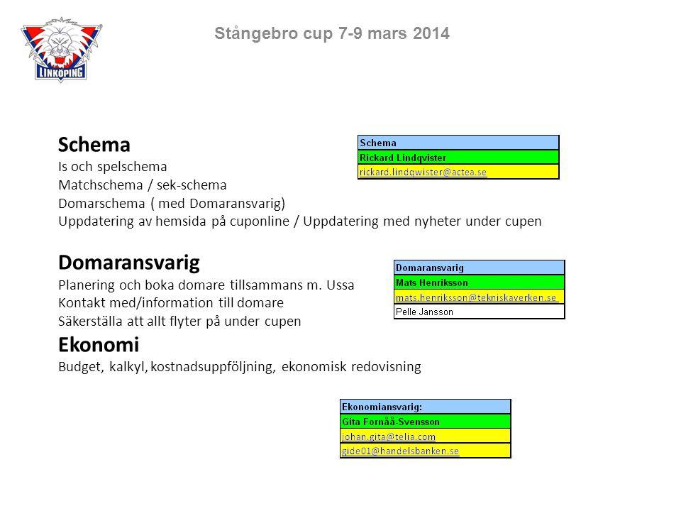 Schema Is och spelschema Matchschema / sek-schema Domarschema ( med Domaransvarig) Uppdatering av hemsida på cuponline / Uppdatering med nyheter under