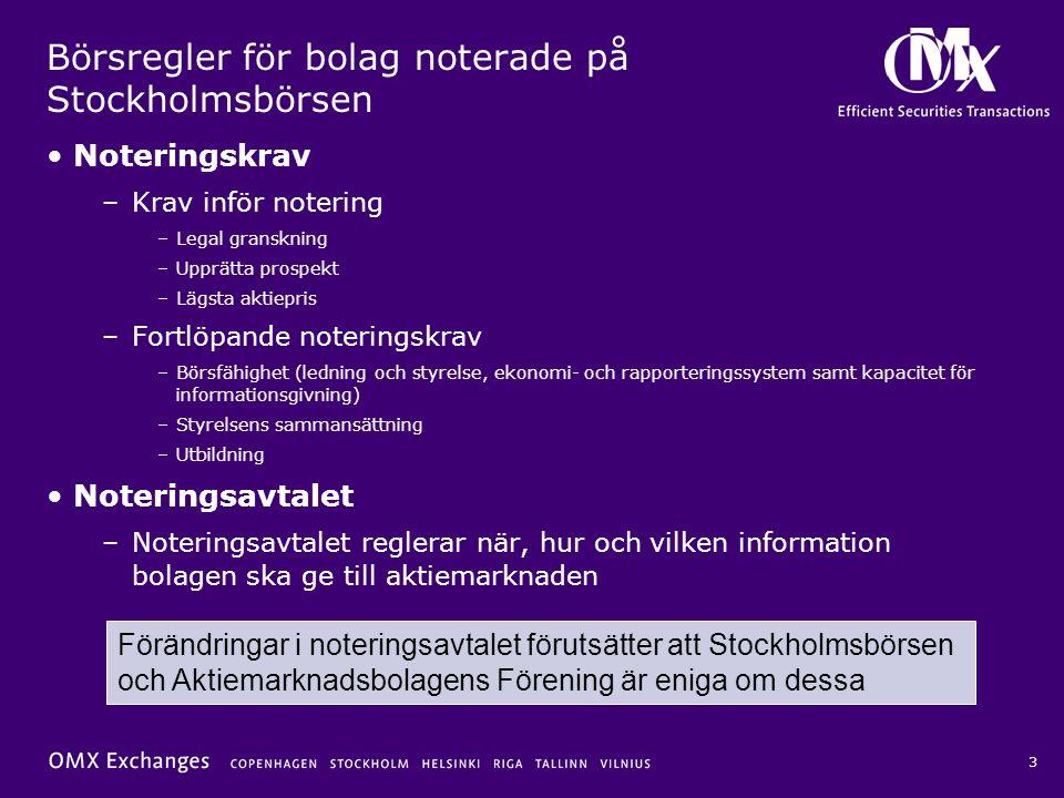 4 Nytt noteringskrav att tillämpa en kod för bolagsstyrning •Svenska aktiebolag på A-listan samt O-listebolag med ett marknadsvärde över 3 miljarder kronor skall tillämpa den svenska koden för bolagsstyrning –Både marknadsvärdet vid mättidpunkten och ett genomsnittligt marknadsvärde de senaste 12 månaderna skall överstiga gränsvärdet för att kravet skall gälla •Utländska bolag skall tillämpa den kod för bolagsstyrning som allmänt tillämpas i utlandet, eller om sådan saknas, den svenska koden för bolagsstyrning •Ikraftträdande –Bolag som omfattas per 1/7 2005: snarast möjligt, dock senast inför första ordinarie stämma efter den 1 januari 2006 –En bolagsstyrningsrapport skall fogas till 2005 års årsredovisning –Löpande: från den 1 juli respektive år med mättidpunkt den 31 maj