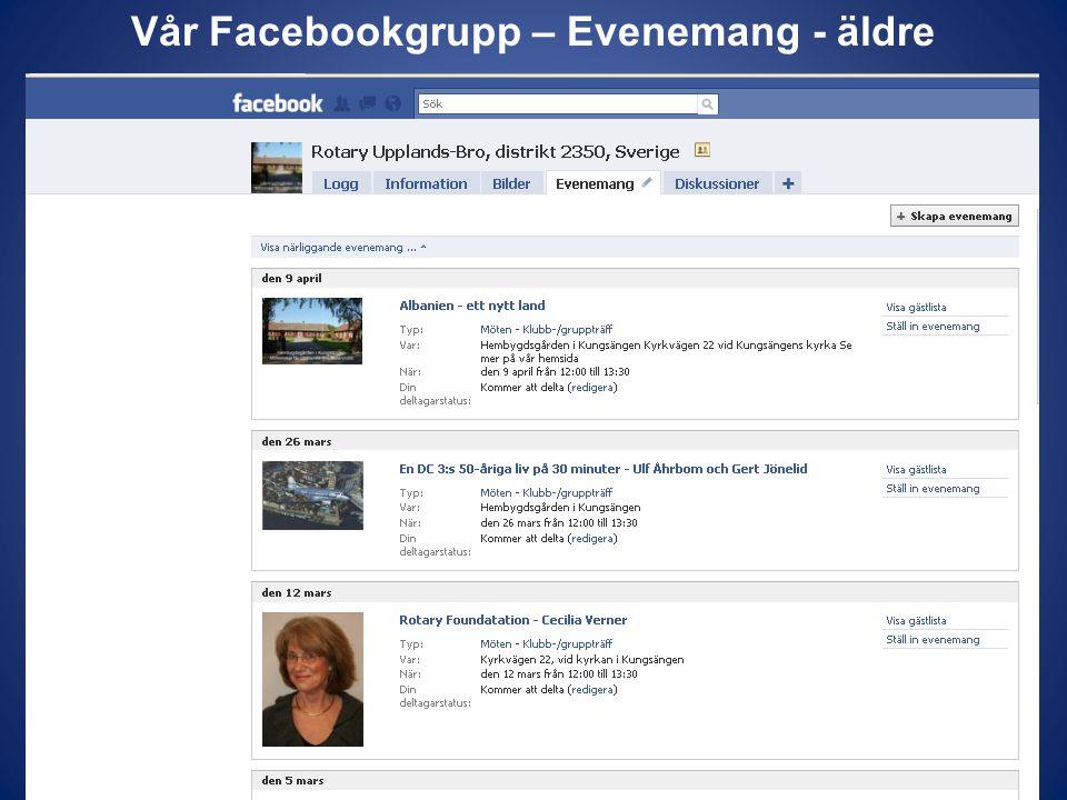 Vår Facebookgrupp – Evenemang - äldre