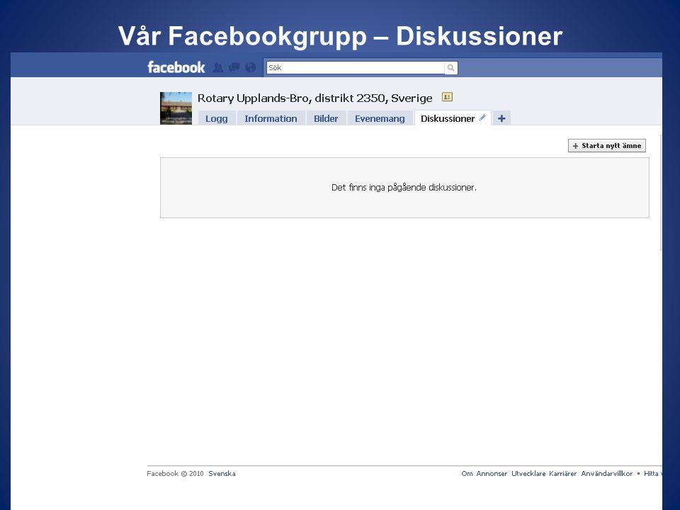 Vår Facebookgrupp – Diskussioner