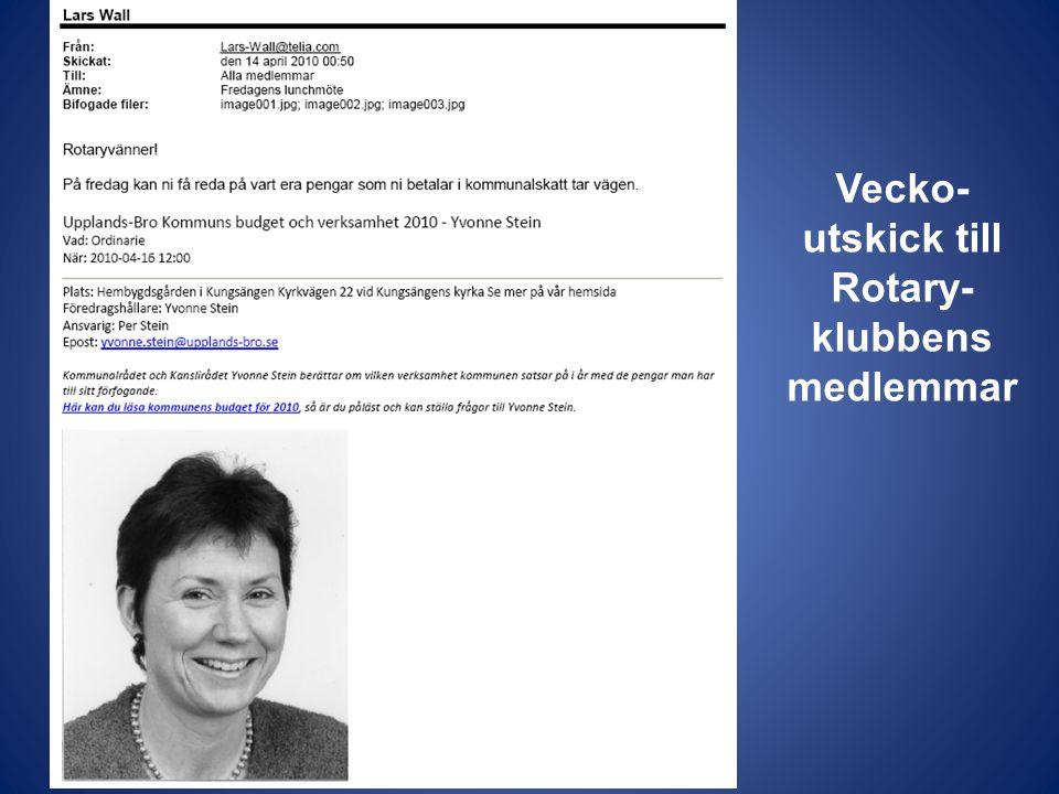 Vecko- utskick till Rotary- klubbens medlemmar