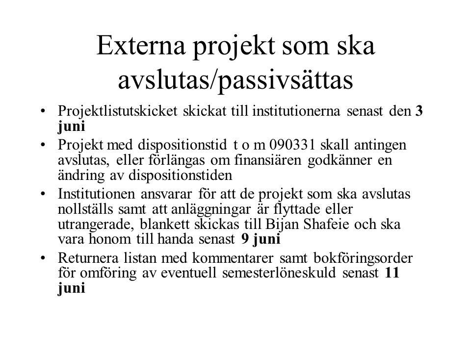 Externa projekt som ska avslutas/passivsättas •Projektlistutskicket skickat till institutionerna senast den 3 juni •Projekt med dispositionstid t o m