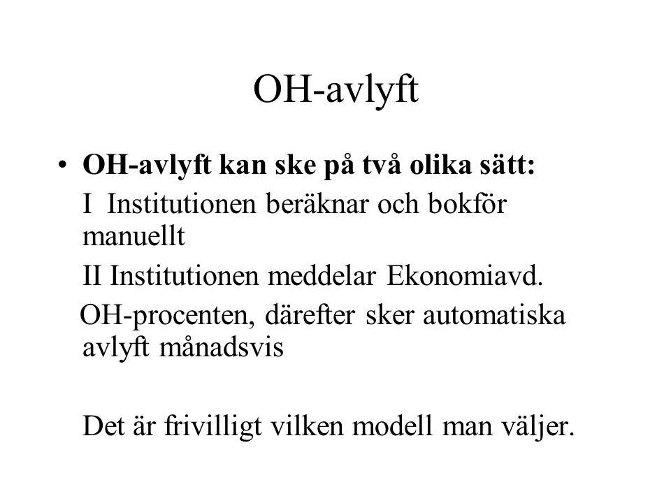 OH-avlyft •OH-avlyft kan ske på två olika sätt: I Institutionen beräknar och bokför manuellt II Institutionen meddelar Ekonomiavd. OH-procenten, däref