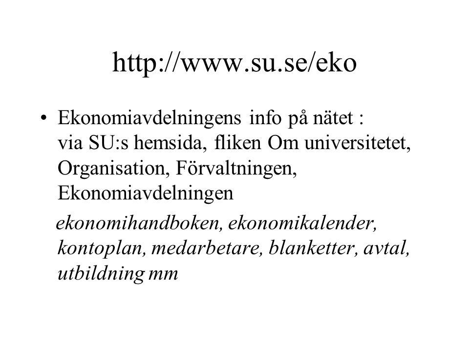 http://www.su.se/eko •Ekonomiavdelningens info på nätet : via SU:s hemsida, fliken Om universitetet, Organisation, Förvaltningen, Ekonomiavdelningen e