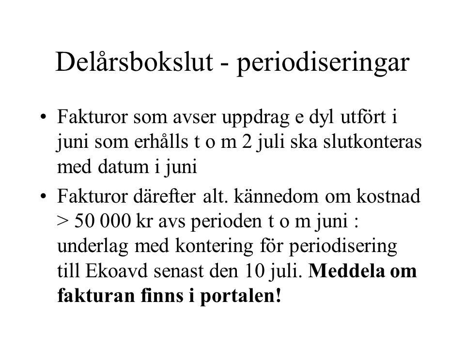 Delårsbokslut - periodiseringar •Fakturor som avser uppdrag e dyl utfört i juni som erhålls t o m 2 juli ska slutkonteras med datum i juni •Fakturor d