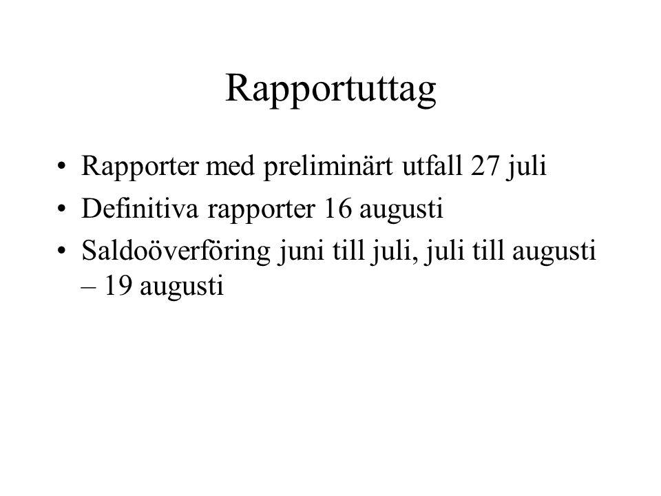 Rapportuttag •Rapporter med preliminärt utfall 27 juli •Definitiva rapporter 16 augusti •Saldoöverföring juni till juli, juli till augusti – 19 august