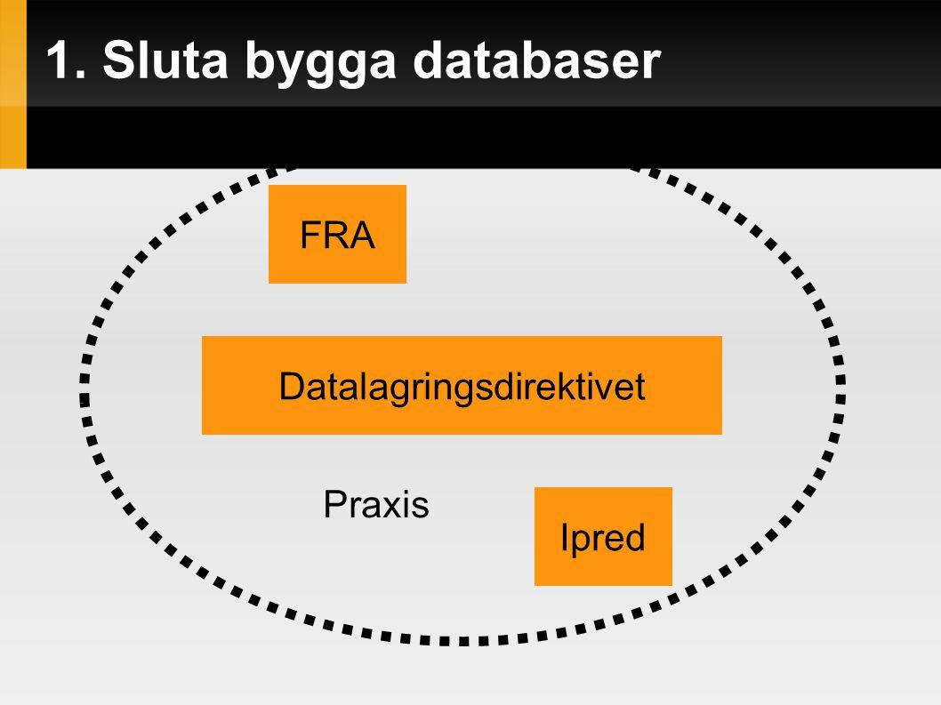 1. Sluta bygga databaser FRA Datalagringsdirektivet Ipred Praxis