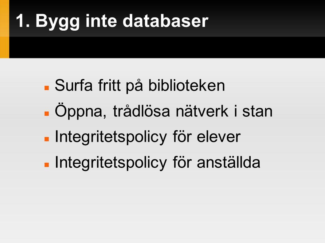 1. Bygg inte databaser  Surfa fritt på biblioteken  Öppna, trådlösa nätverk i stan  Integritetspolicy för elever  Integritetspolicy för anställda
