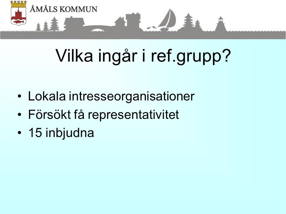 Vilka ingår i ref.grupp? •Lokala intresseorganisationer •Försökt få representativitet •15 inbjudna